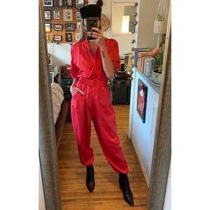 Vintage 80's Red Parachute Jumpsuit